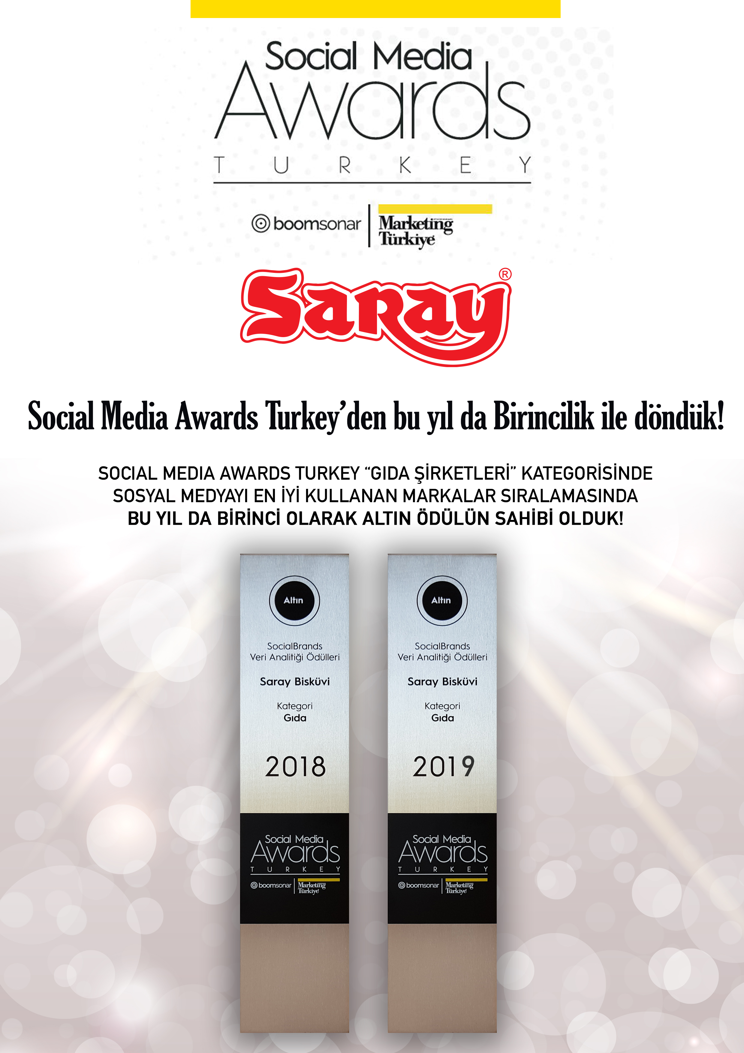 SARAY'DAN BİR BAŞARI DAHA ! -  Social Media Awards Turkey 2019 Ödüllerinde Altın Ödül (Birincilik) Yine Saray Bisküvi'nin
